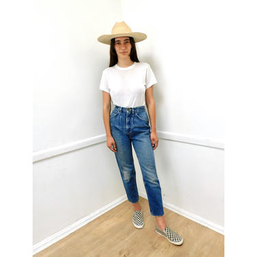 Lee Riders Jeans // vintage 80s high waist denim boho hippie dress medium wash hippy cotton USA mom jeans // XS/S 25 26 by FenixVintage