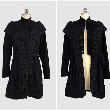 COAT CHECK Vintage 30s Black Wool Boucle and Persian Lamb Fur Coat | 1930s Art Deco Belted Military Style Jacket | 40s 1940s | Size Small by lovestreetsf