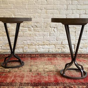 MODERN Metal + Wood END TABLES / Pedestal Stands / Nightstands / Side Tables by CIRCA60