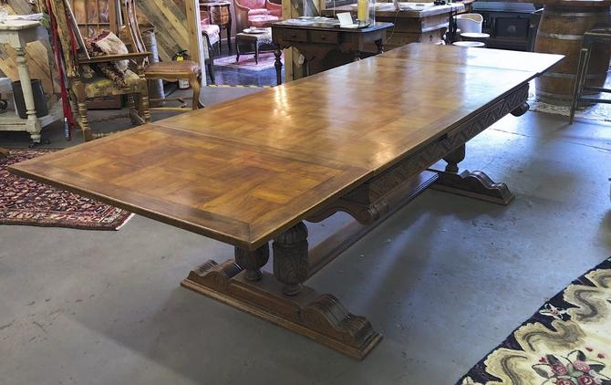 Antique French Parquet-Top Trestle Dining Table with Dual Extensions