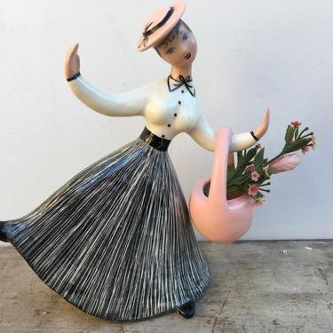 Vintage Heidi Schoop Woman With Flower Basket, Mid Century Modern Dancing Gardening Lady, Mary Poppins Look by luckduck