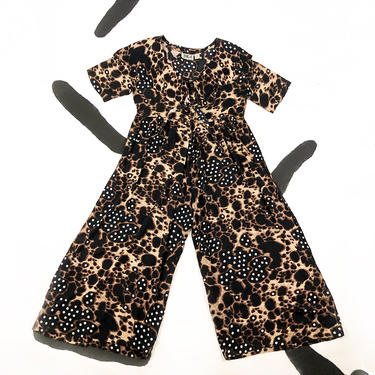 80s Allover Animal Print Polka Dot Jumpsuit / Jump Suit / Rayon / Capelet / 1990s / Tie Neck / One Piece / Summer / Short Sleeve / 1980s / L by badatpettingcats