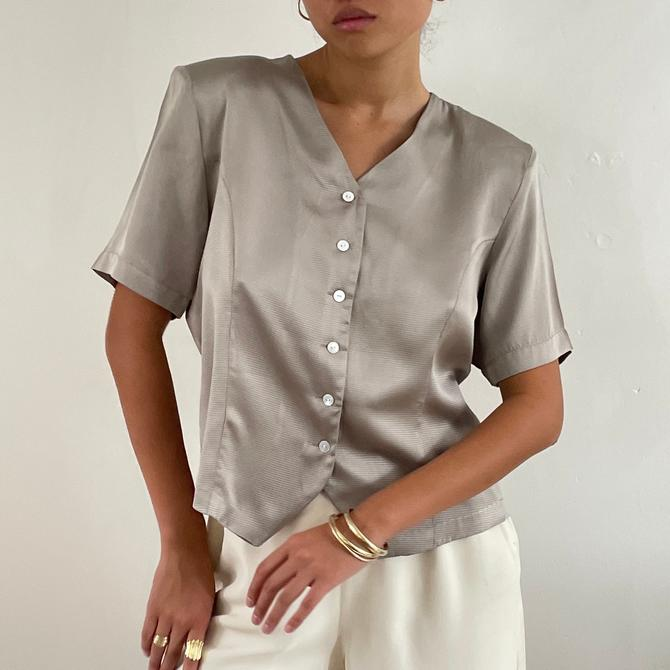 90s silk blouse / vintage taupe sand silk short sleeve V neck button up blouse   M by RecapVintageStudio