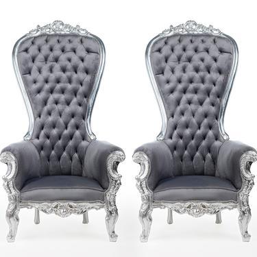 Silver Throne Chair Gray Velvet Chair French Tufted Chair Throne Grey Velvet Chair Tufted Silver Frame Throne Chair Rococo Interior Design by SittinPrettyByMyleen