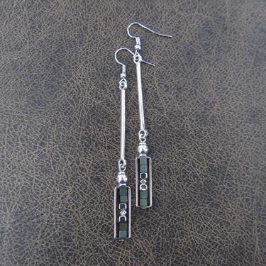 Geometric earrings, teal hematite and silver minimalist earrings, mid century modern earrings, Brutalist earrings, unique Art Deco earrings by Afrocasian
