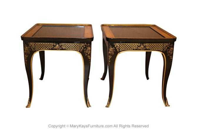 Pair Et Cetera Chinoiserie Black Lacquer Side Tables by Drexel by Marykaysfurniture