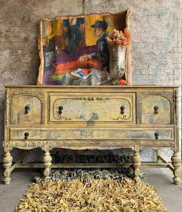 Hand Painted Bohemian Buffet Server - Vintage Buffet Sideboard - Entryway Buffet - Whimsical Art - Painted Furniture - Bohemian Buffet by DareToBeVintage