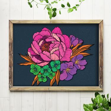 Art Print // Peony Flower // 5x7 + 8x10 Hand Drawn Wall Art by BillieClaireHandmade