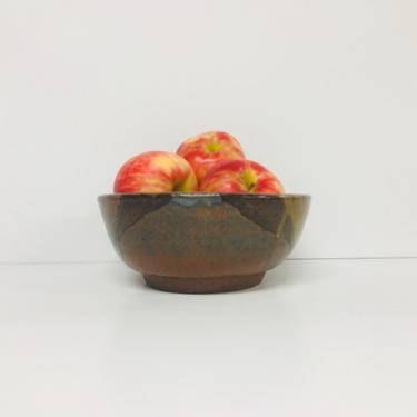 Vintage Studio Pottery/ Ceramic/ Bowl/ Earth Tone/ Drip Glaze/ 1980/ Wabi Sabi/ FREE SHIPPING by PnutGallery