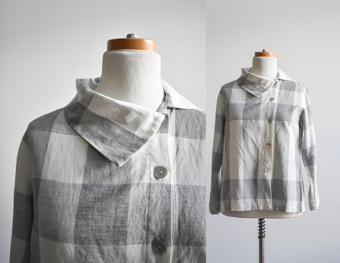 80s Black & White Plaid Linen Blouse by milkandice