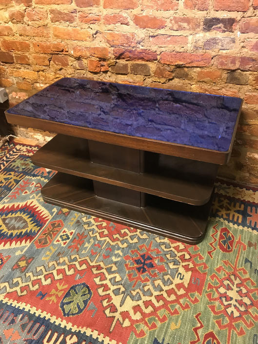 Vintage Art Deco Blue Glass Top coffee table by UrbanInteriorsBalt