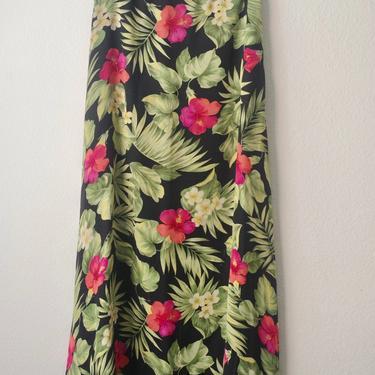 98) VINTAGE Ralph Lauren maxi skirt tropical island plants leaves floral print black by GRACEandCATS
