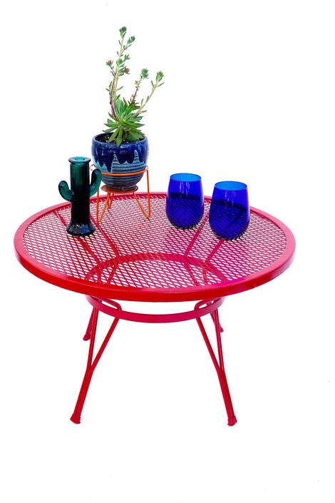 Mid-Century Salterini Round Metal Mesh Patio Cocktail Table | Red Circular Accent Table | Indoor/Outdoor Color Pop Plant Stand by ELECTRICmarigold