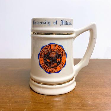 Vintage University of Illinois Beer Stein Mug Lewis Bros by OverTheYearsFinds