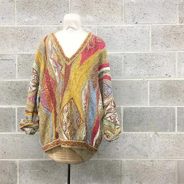 Vintage Coogi Sweater Retro Unisex Size XL Multi Color Long Sleeve V-Neck Wool Oversized Pullover Made in Australia Fall Fashion by RetrospectVintage215