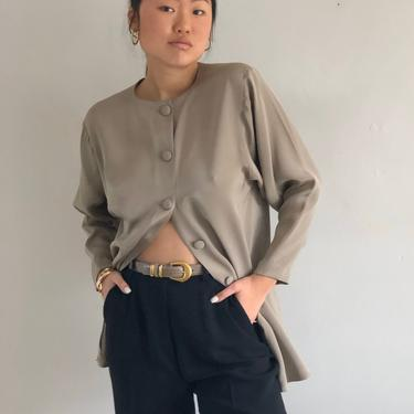 90s silk crewneck tunic blouse / vintage taupe brushed silk button back or button front long batwing blouse tunic   M by RecapVintageStudio