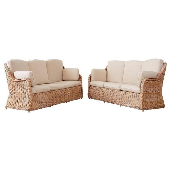 Pair of Organic Modern McGuire Style Rattan Wicker Sofas by ErinLaneEstate