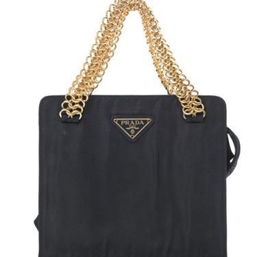 Vintage PRADA Milano Navy Nylon Gold Chain Mini Tote Clutch Evening Bag Purse Handbag by MoonStoneVintageLA