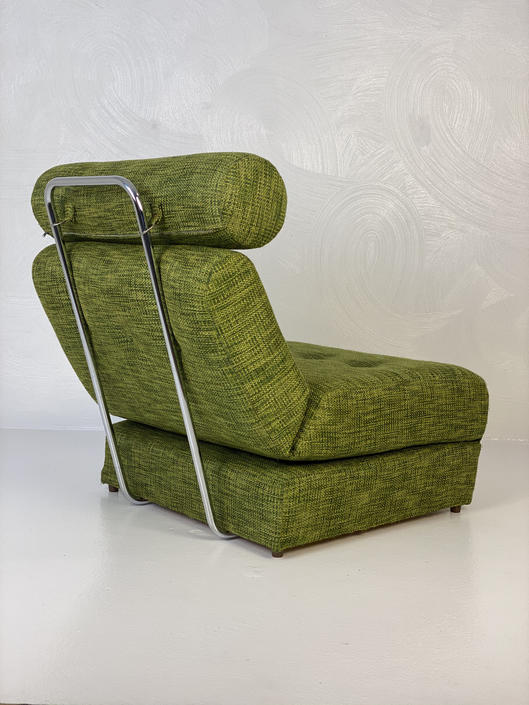 Retro Sleeper Chair Bed in Green Wool Fabric with Chrome Supports, Circa 1960s - *Please see notes on shipping before you purchase. by CoolCatVintagePA