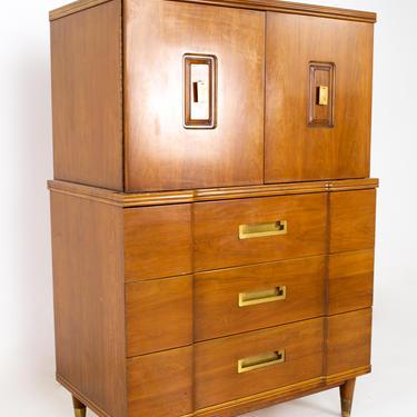 John Widdicomb Mid Century Walnut and Brass Gentlemans Chest Highboy Dresser - mcm by ModernHill