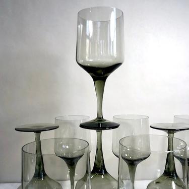 Vintage Orrefors Rhapsody Smoke Grey Gray Crystal Stemware, Tall Water Goblet, Wine Glass - Sweden, Scandinavian, Mid Century Modern by VenerablePastiche