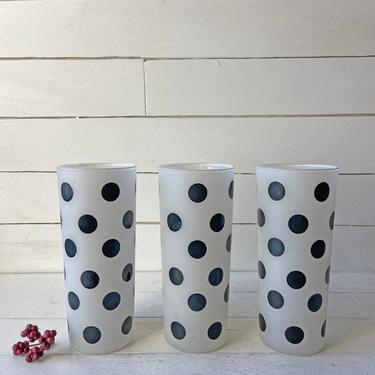 Vintage Frosted Black Polka Dot Tumbler Glasses // Set of 3 // Midcentury Barware, Polk Dot Collector // Retro Black Glasses // Perfect Gift by CuriouslyCuratedShop