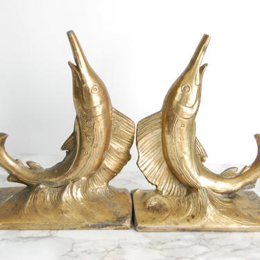 Brass Swordfish Bookends - Vintage Brass Bookends - Marlin Fish Metal Bookend by PursuingVintage1