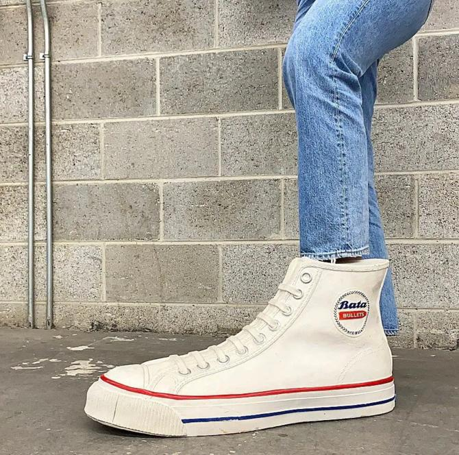 """Vintage Bata Bullets Sneaker Statue Retro 1970s Contemporary + 24"""" Plaster + White + Red + Blue + Display From Shoe Store + Made in USA by RetrospectVintage215"""