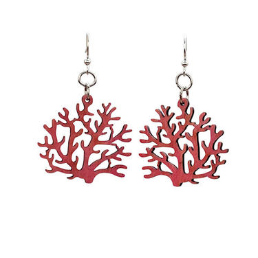 Coral - Earrings laser Cut from Sustainable Wood Source by GreenTreeJewelry