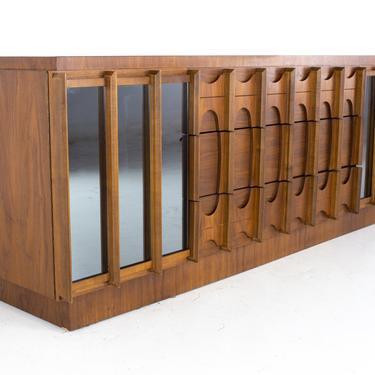 Tobago Brutalist Mid Century Walnut and Mirror 9 Drawer Lowboy Dresser - mcm by ModernHill