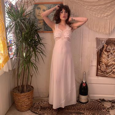 40's WHITE NIGHT GOWN - maxi - lace - nylon - small by GlamItToHell