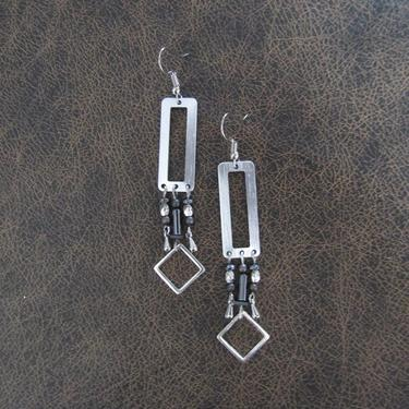Modern silver earrings gray hematite and silver, mid century, Brutalist earrings, minimalist statement earrings, geometric unique chic by Afrocasian