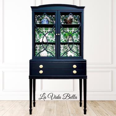 Stunning Black China Cabinet, Hutch, Secretary, Cabinet, Black Antique by LaVidaBellaDesign