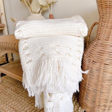 Vintage crocheted oversized throw blanket by BlushandIvyDesign
