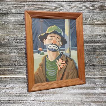 Vintage Clown Paint By Numbers, Sad Emmet Kelly in Floppy Hobo Hat, Old Sadface PBN, Mid Century Modern, Clown Portrait, Vintage Wall Art by AGoGoVintage