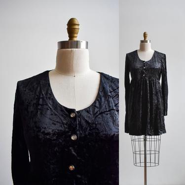 1990s Black Velour Babydoll Dress by milkandice