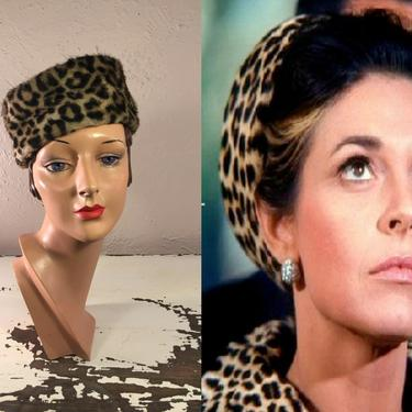 Coo Coo Ca Choo Mrs Robinson - Vintage 1950s 1960s Leopard Faux Fur Turban Beehive Pill Box Bucket Hat by RoadsLessTravelled2