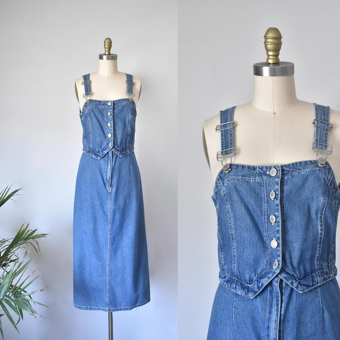 denim jumper dress, overalls by QuondamCult