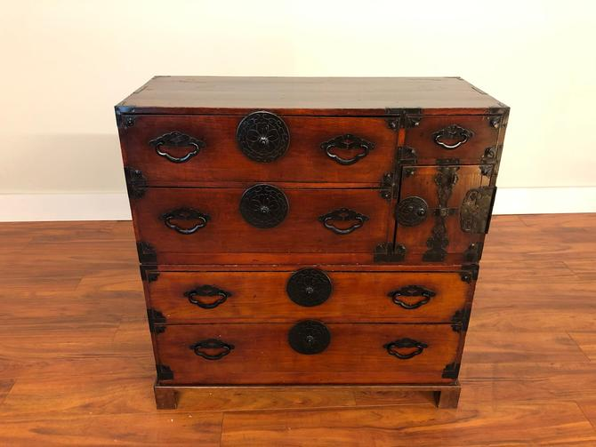 Two Piece Japanese Tansu Chest with Stand by Vintagefurnitureetc