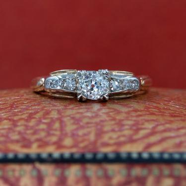 Old Mine Diamond Two-Tone Ring c1930