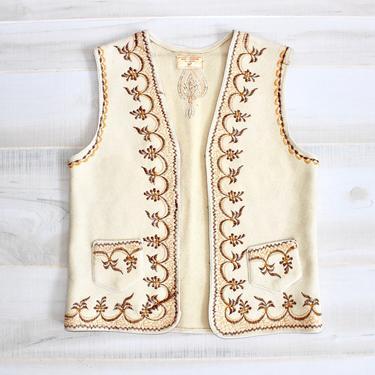 Vintage 70s Embroidered Wool Vest, 1970s Hippie Vest, Ethnic Vest, Folk Vest, Boho, Bohemian, Festival by WildwoodVintage