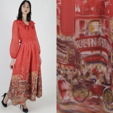 Vtg 70s Art Nouveau Print Dress / Moulin Rouge Printed Material / Cabaret Theater Evening Dress / Red Puuf Sleeve Lounge Red Maxi Dress by americanarchive