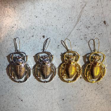 Metal Scarab Beetle Earrings