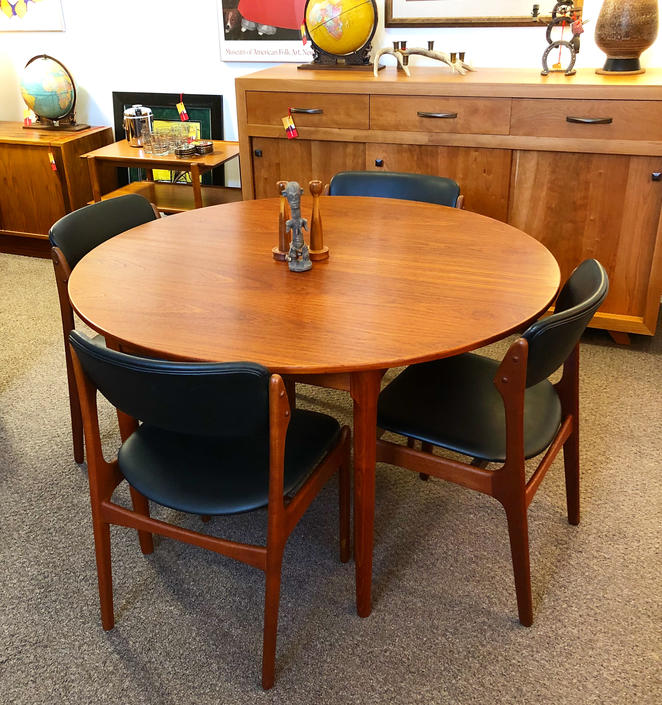 Teak Dining Set With 6 Erik Buch Chairs