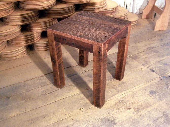 Solid Oak Rustic Parsons Style End Table by BarnWoodFurniture