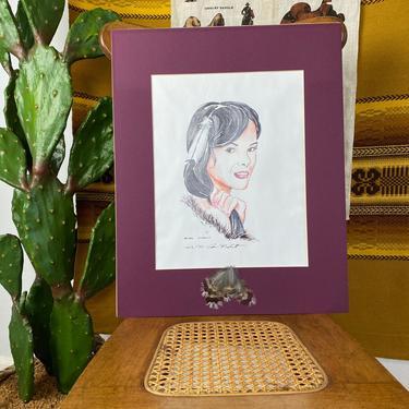 Vintage Original Signed Mixed Media Native American Woman by DesertCactusVintage