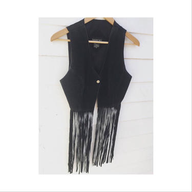 Genuine Suede leather fringe vest. by MamaTequilasVintage