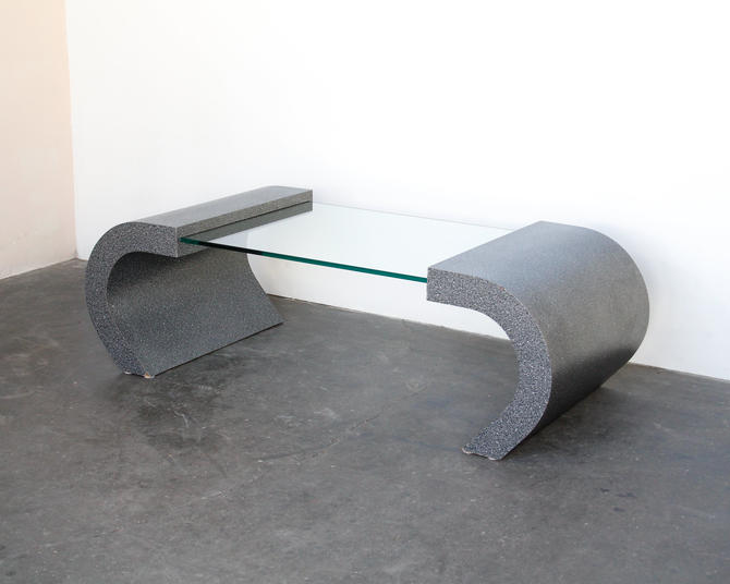 Faux Granite 1980s Curved Formica + Glass Coffee Table by IridiumInteriors