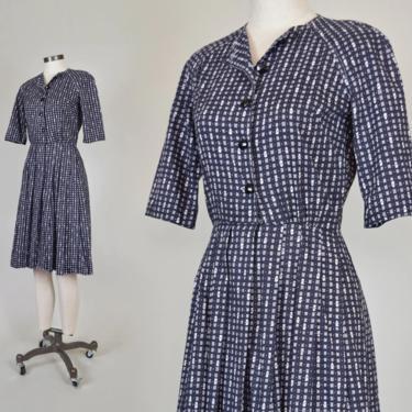 1950's Floral Print Shirtdress   1950's Printed Dress by WisdomVintage