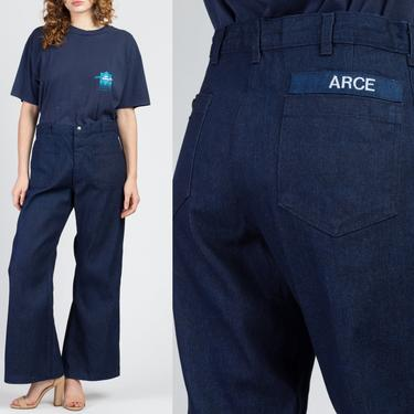 "70s Seafarer Unisex Flared Denim Sailor Pants - 34"" Waist   Vintage High Waisted Navy Dark Wash Blue Hippie Jeans by FlyingAppleVintage"